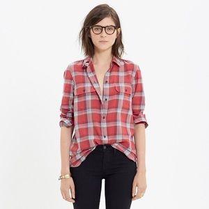 Madewell Ex-Boyfriend Red Plaid Shirt